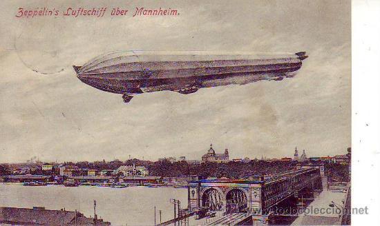 ZEPPELIN`S LUFTSCHIFF ÜBER MANNHEIM (Postales - Postales Temáticas - Aeroplanos, Zeppelines y Globos)