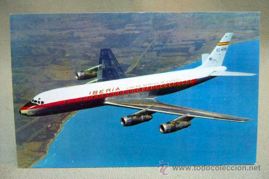 POSTAL PUBLICITARIA, JET DOUGLAS, DC - 8, TURBOFAN, IBERIA LINEAS AEREAS ESPAÑOLAS, RIEUSSET, 1963 (Postales - Postales Temáticas - Aeroplanos, Zeppelines y Globos)
