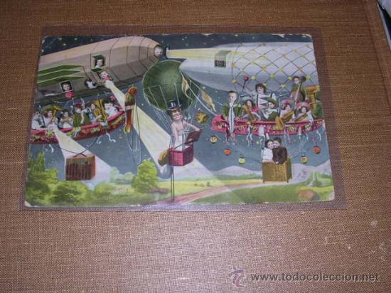 POSTAL INFANTIL ZEPPELIN Y GLOBO , SERIE 1705 -K.V.L.B.12 -14X9 CM. (Postales - Postales Temáticas - Aeroplanos, Zeppelines y Globos)