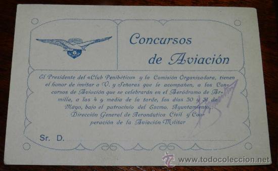 Antigua Tarjeta De Invitacion Al Aerodromo De Armilla Granada Concurso De Aviacion Tamaño Postal