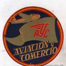 Postales: ETIQUETA COMPAÑIA DE AVIACION Y COMERCIO AYC. 10 CM. DIÁMETRO. AVION.. Lote 33105231