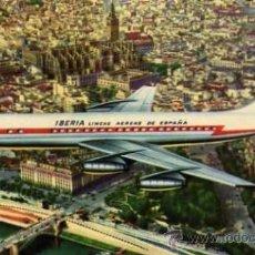 Postales: LINEAS AEREAS DE ESPAÑA JET DC-8 SOBREVOLANDO SEVILLA SIN CIRCULAR . Lote 33570531