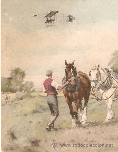 AEREOPLANO POR EL CAMPO POSTAL CIRCULADA EN 1909 EDITADA EN AUSTRIA (Postales - Postales Temáticas - Aeroplanos, Zeppelines y Globos)