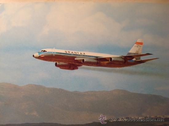 POSTAL SPANTAX CONVAIR CV 990 A CORONADO.AÑOS 70.SINCIRCULAR (Postales - Postales Temáticas - Aeroplanos, Zeppelines y Globos)