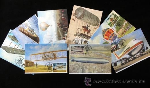 S.TOME E PRINCIPE 1983 POSTAL PRIMER DIA DE CIRCULACION AVIONES- AEROPLANOS- ZEPPELIN- 8 MODELOS (Postales - Postales Temáticas - Aeroplanos, Zeppelines y Globos)