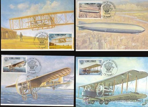 Postales: S.TOME E PRINCIPE 1983 POSTAL PRIMER DIA DE CIRCULACION AVIONES- AEROPLANOS- ZEPPELIN- 8 MODELOS - Foto 3 - 35845424
