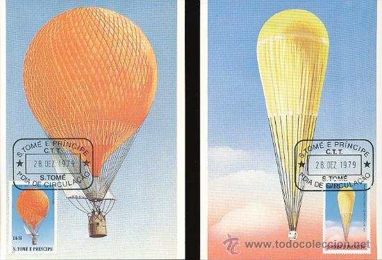 Postales: S.TOME E PRINCIPE 1979 POSTAL PRIMER DIA DE CIRCULACION- AVIACION- GLOBOS - LOTE 6 MODELOS - Foto 3 - 36356673