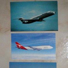 Postales: POSTAL AVIACIÓN QANTAS 747, AVIACO DC-9/34, BOEING 747 PRINTE IN ISRAEL 418/86 3 POSTALES AVIÓN. Lote 36706751