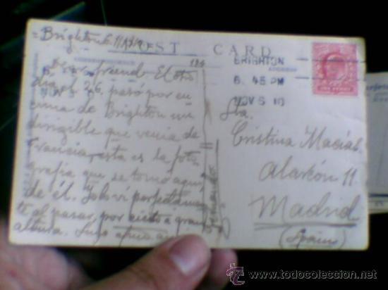 Postales: Zeppelin sobre Brighton fotografia postal 1910 circulada sello 1 penique - Foto 6 - 36860212