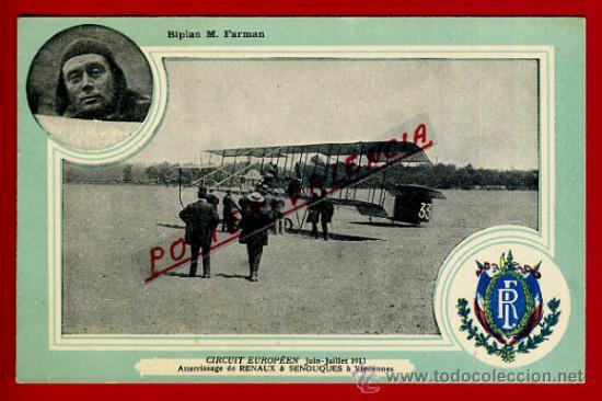 POSTAL AVION, AVIACION, CIRCUIT EUROPEEN JULIO 1911 , BIPLAN M FARMAN , ORIGINAL, SIN CIRCULAR, A1 (Postales - Postales Temáticas - Aeroplanos, Zeppelines y Globos)