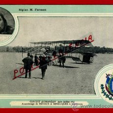POSTAL AVION, AVIACION, CIRCUIT EUROPEEN JULIO 1911 , BIPLAN M FARMAN , ORIGINAL, SIN CIRCULAR, A1
