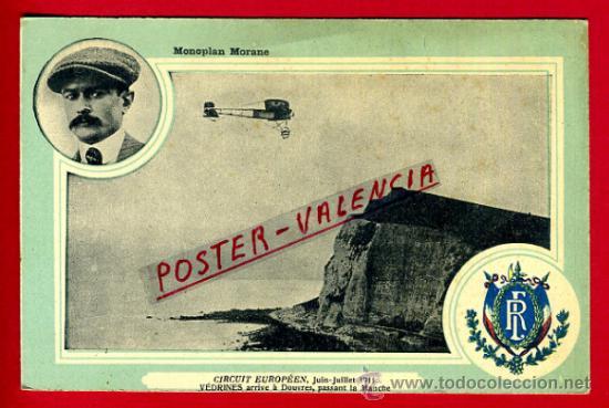 POSTAL AVION, AVIACION, CIRCUIT EUROPEEN JULIO 1911 , MONOPLAN MORANE , ORIGINAL, SIN CIRCULAR, A2 (Postales - Postales Temáticas - Aeroplanos, Zeppelines y Globos)