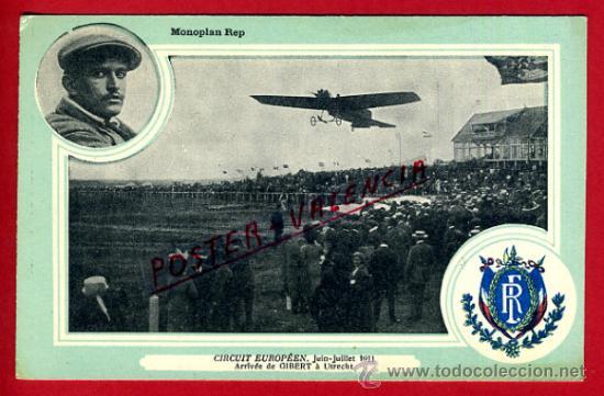 POSTAL AVION, AVIACION, CIRCUIT EUROPEEN JULIO 1911 , MONOPLAN REP , ORIGINAL, SIN CIRCULAR, A4 (Postales - Postales Temáticas - Aeroplanos, Zeppelines y Globos)