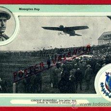 POSTAL AVION, AVIACION, CIRCUIT EUROPEEN JULIO 1911 , MONOPLAN REP , ORIGINAL, SIN CIRCULAR, A4