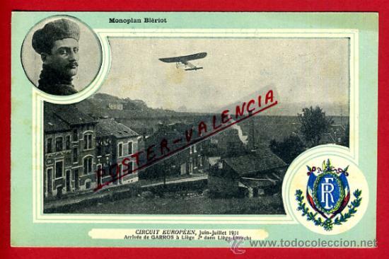 POSTAL AVION, AVIACION, CIRCUIT EUROPEEN 1911 , MONOPLAN BIERIOT, LIEJA , ORIGINAL, SIN CIRCULAR, A7 (Postales - Postales Temáticas - Aeroplanos, Zeppelines y Globos)
