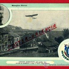 POSTAL AVION, AVIACION, CIRCUIT EUROPEEN 1911 , MONOPLAN BIERIOT, LIEJA , ORIGINAL, SIN CIRCULAR, A7