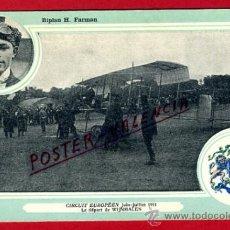 POSTAL AVION, AVIACION, CIRCUIT EUROPEEN 1911 , BIPLAN H .FARMAN , ORIGINAL, SIN CIRCULAR, A8