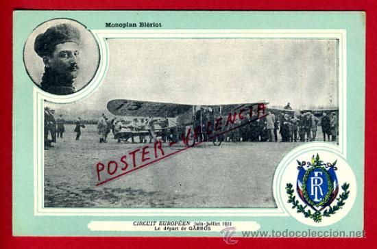 POSTAL AVION, AVIACION, CIRCUIT EUROPEEN 1911 , MONOPLAN BIERIOT , ORIGINAL, SIN CIRCULAR, A16 (Postales - Postales Temáticas - Aeroplanos, Zeppelines y Globos)