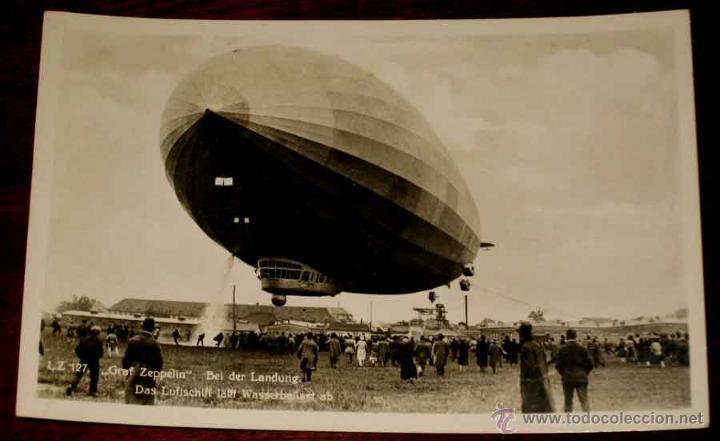 FOTO POSTAL LZ 127 . GRAF ZEPPELIN BEL DER LANDUNG, DANS LUFTSCHIFF .- SIN CIRCULAR (Postales - Postales Temáticas - Aeroplanos, Zeppelines y Globos)