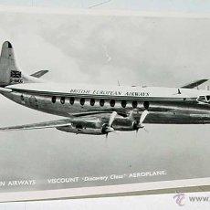 Postales: ANTIGUA FOTO POSTAL DE AVION . VISCOUNT, DISCOVERY CLASS, AEROPLANE . BRITISH EUROPEAN AIRWAYS - SIN. Lote 38262888