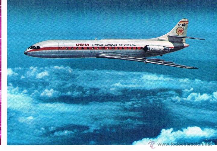 IBERIA POSTAL PUBLICITARIA AVION CARAVELLE X-R AÑOS 60-70 NUEVA (Postales - Postales Temáticas - Aeroplanos, Zeppelines y Globos)