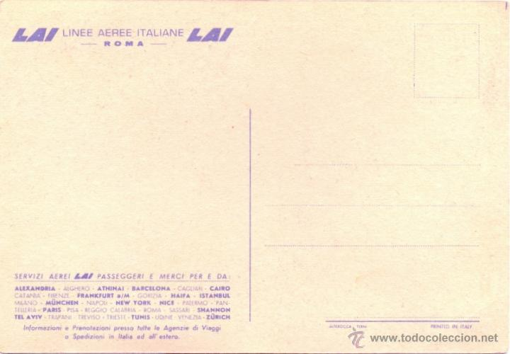 Postales: POSTAL PUBLICITARIA AÑOS 50 , LAI, LINEA AEREA ITALIANA, MUY RARA - Foto 2 - 42280019