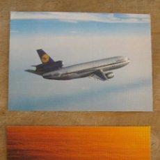 Postales: LOTE 2 POSTAL AVION LUFTHANSA BOEING 474 Y DC 10 NUEVAS. POSTALES . Lote 45009620