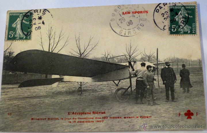 POSTAL AEROPLANE BLÉRIOT AÑO 1908 CIRCULADA L'AÉROPLANE BLÉRIOT (Postales - Postales Temáticas - Aeroplanos, Zeppelines y Globos)