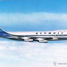 Postales: POSTAL BOEING 747-200 B, JUMBO JET DE OLYMPÌC AIRWAYS (GRECIA AÑOS 60). Lote 47820521