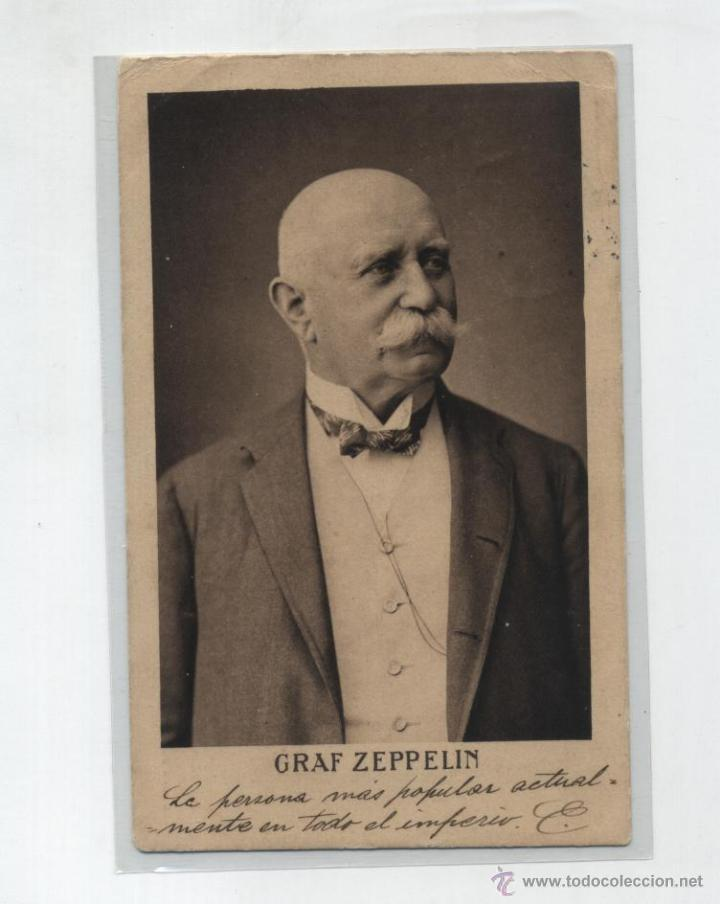 GRAF ZEPPELIN. POSTAL RETRATO DEL CONDE ZEPPELIN. FRANQUEADO Y FECHADO EN BERLIN EN 1908. CON DES- (Postales - Postales Temáticas - Aeroplanos, Zeppelines y Globos)