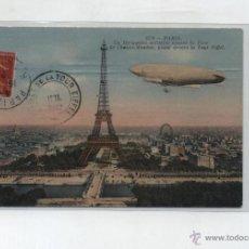 Postales: PARIS.UN DIRIGEABLE MILITAIRE VENANTPARC DE CHALAIS MEUDON. FRANQUEADO Y FECHADO EN PARIS 17-7-1912.. Lote 48438828