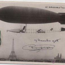 Postales: LE DIRIGEABLE VILLE DE PARIS. FRANQUEADO Y FECHADO EL 19-12- 1908. DESTINO : SEVILLA.. Lote 48464811