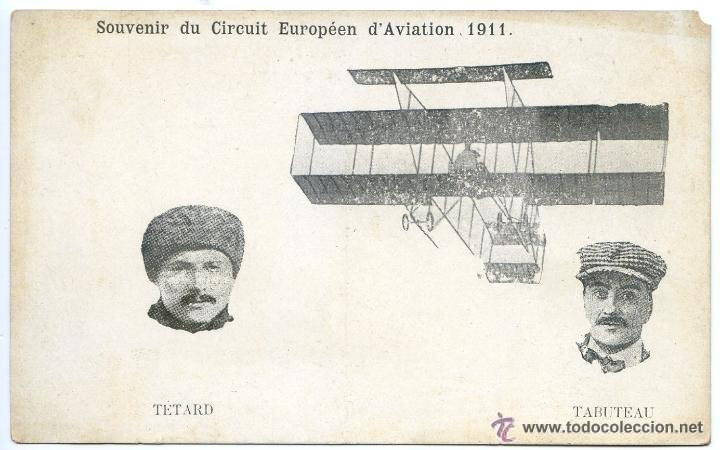 SOUVENIR DU CIRCUIT EUROPÉEN D´AVIATION 1911. TETARD ET TABUTEAU (Postales - Postales Temáticas - Aeroplanos, Zeppelines y Globos)