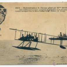 Postales: HYDROAEROPLANE H. FARMAN PILOTÉ PAR MLLE DUTRIEU. HIDROAVIÓN, PIONEROS. Lote 50336938