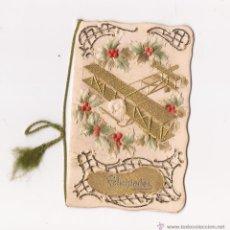 Postales: POSTAL CON AVIONETA DE FELICITACIÓN CON PAN DE ORO MODERNISTA / DOBLE / DENTRO LLEVA DOBLE HOJA ESCR. Lote 50571808