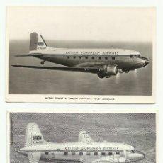 Postales: BRITISH EUROPEAN AIRWAYS LOTE 2 POSTALES 1952. Lote 50658477