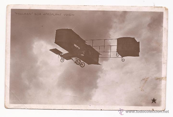 POSTAL PAULHAN SUR AÉROPLANE VOISIN / MARQUE ÉTOILE / PARIS / SIN USAR (Postales - Postales Temáticas - Aeroplanos, Zeppelines y Globos)
