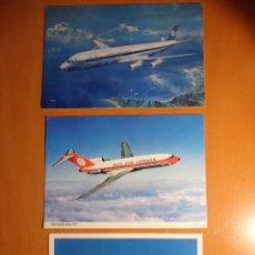 Postales: AVIONES. LOTE DE 3 POSTALES DE AVIONES. SELLADAS. AÑOS 60/70. KLM. TWA. BOEING 727.. Lote 52672931