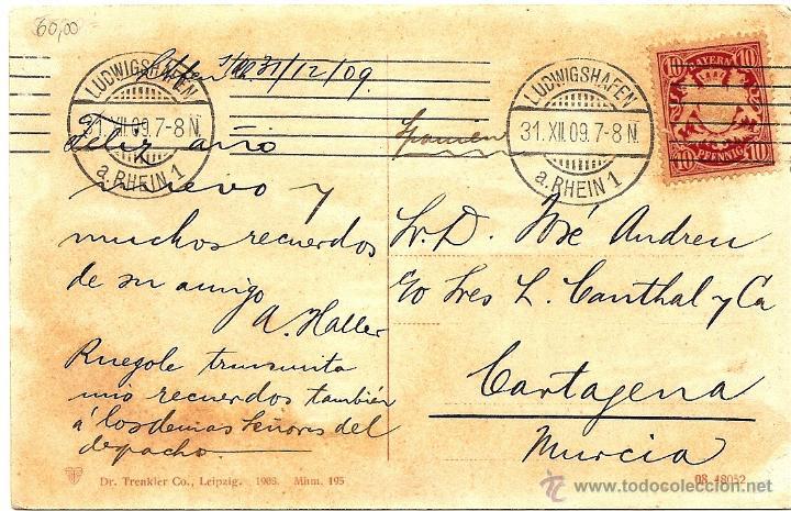 Postales: POSTAL CIRCULADA AÑO 1909 DE LUDWIGSHAFEN A CARTAGENA (MURCIA) - ZEPPELINS LUFTSCHIFF SOBRE MANNHEIM - Foto 2 - 54046037