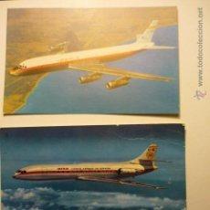 Postales: LOTE POSTALES AVIONES IBERIA-CARAVELLE X-R Y DOUGLAS DC 8 TURBOFAN. Lote 54488947