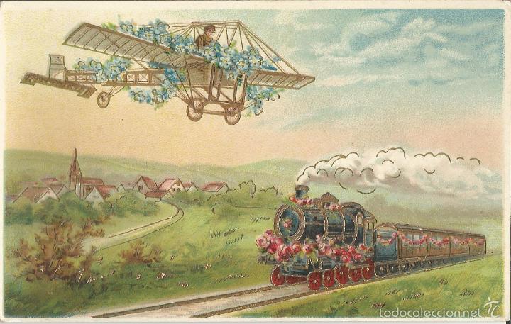 ANTIGUA POSTAL AEROPLANO SOBREVOLANDO FERROCARRIL, CON RELIEVE - PRINTED IN GERMANY - S/C (Postales - Postales Temáticas - Aeroplanos, Zeppelines y Globos)