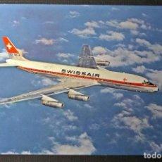 Postales: DOUGLAS DC-8, POSTAL DE SWISSAIR, CON HORARIOS CIRCULADA DE 1969. VER FOTOS. Lote 66980502