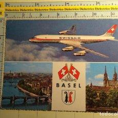 Postales: POSTAL DE AVIACIÓN AERONÁUTICA AVIONES. AVION DE SWISSAIR, BASILEA, SUIZA. 573. Lote 68305689