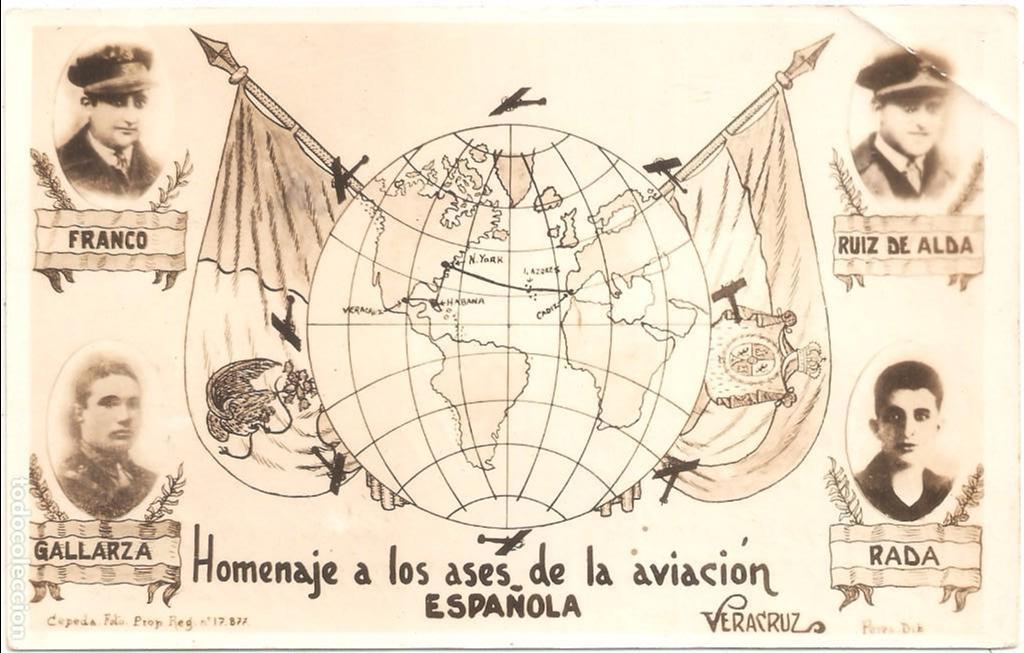 HOMENAJE A LOS ASES DE LA AVIACIÓN ESPAÑOLA . POSTAL FOTOGRÁFICA CIRCULADA EN 1928 VERACRUZ (Postales - Postales Temáticas - Aeroplanos, Zeppelines y Globos)