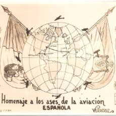Postales: HOMENAJE A LOS ASES DE LA AVIACIÓN ESPAÑOLA . POSTAL FOTOGRÁFICA CIRCULADA EN 1928 VERACRUZ. Lote 75094459