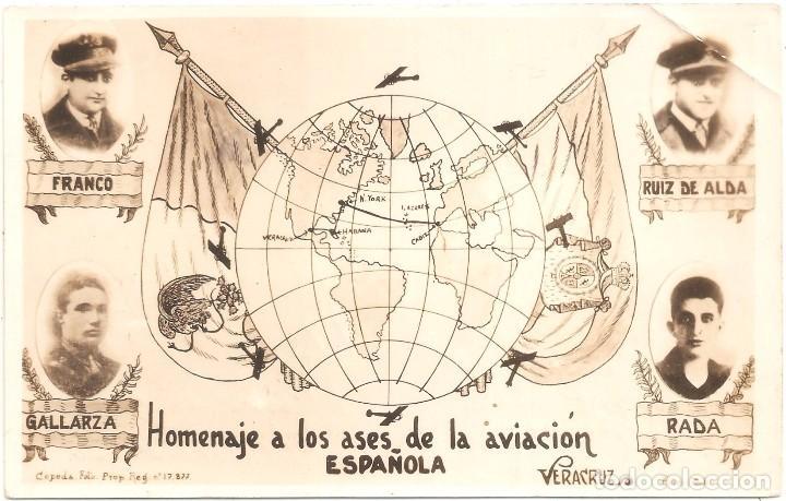 Postales: HOMENAJE A LOS ASES DE LA AVIACIÓN ESPAÑOLA . POSTAL FOTOGRÁFICA CIRCULADA EN 1928 VERACRUZ - Foto 2 - 75094459