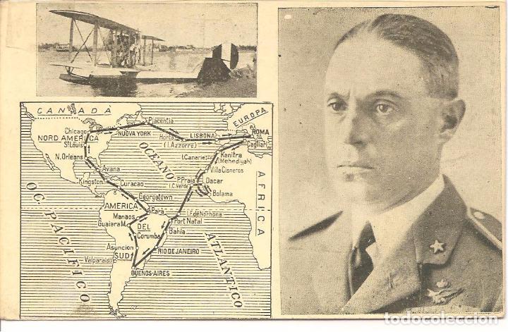 POSTAL, HIDROAVIÓN, VUELO ENTRE EUROPA-ÁFRICA AMÉRICA Y EUROPA, POSTAL ITALIANA, SIN CIRCULAR (Postales - Postales Temáticas - Aeroplanos, Zeppelines y Globos)