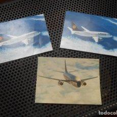 Postales: 3 POSTALES LUFTHANSA BOEING 737-300. Lote 80616274