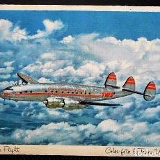 Postales: TWA. CONSTELLATION IN FLIGHT. TRANS WORLD AIRLINES. SIN CIRCULAR. Lote 97847683