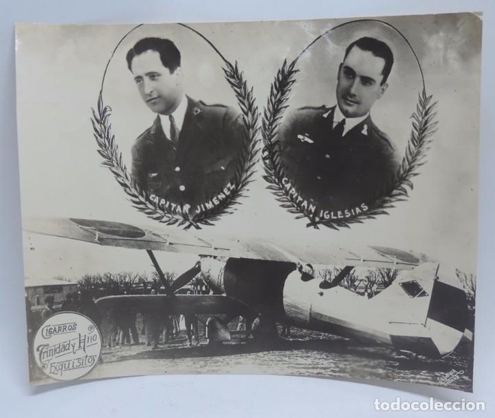 ANTIGUA FOTOGRAFIA CONMEMORATIVA DE AVIACION, CAPITAN JIMENEZ Y CAPITAN IGLESIAS, FOTO SEGOVIA, HABA (Postales - Postales Temáticas - Aeroplanos, Zeppelines y Globos)